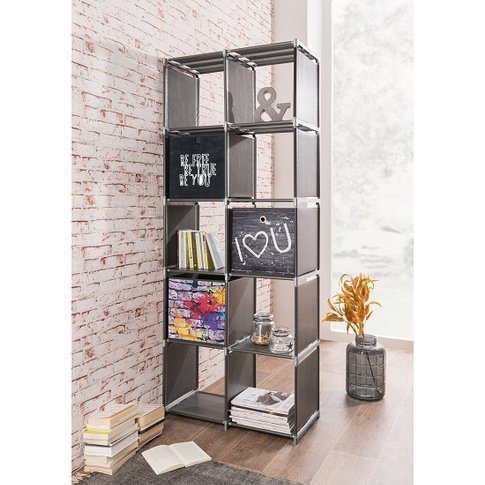 Vetra Shelving Unit Tall In Anthracite With 10 Compa...