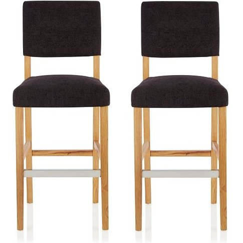 Vibio Bar Stools In Aubergine Fabric And Oak Legs In...