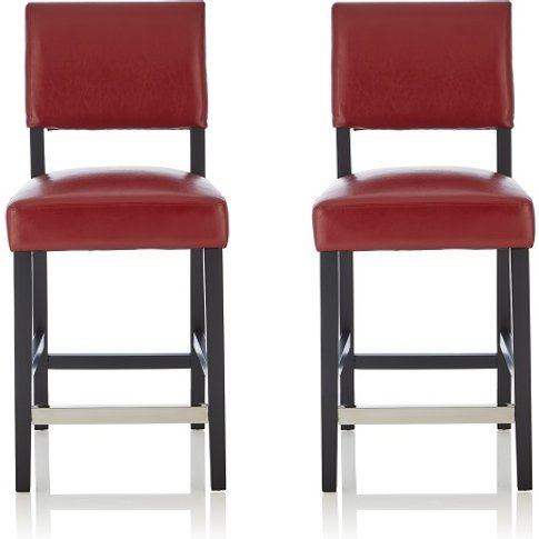 Vibio Bar Stools In Red Pu With Black Legs In A Pair