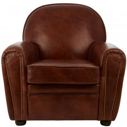 Victory Classic Leather Armchair In Brown