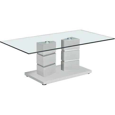 Vigo Glass Coffee Table With Polished Stainless Stee...