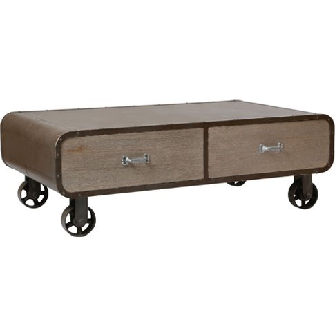 Villoic Rolling Wooden Coffee Table In Natural