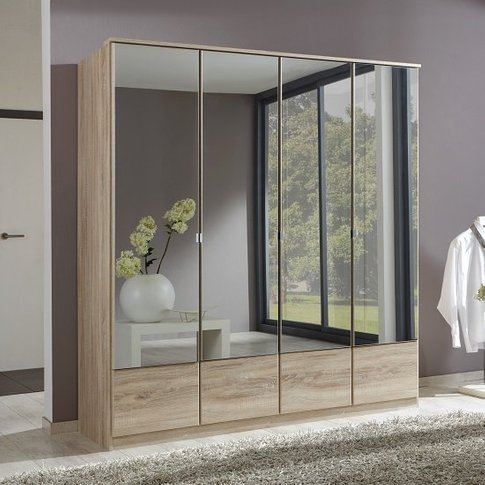 Vista Mirrored Wardrobe Large In Oak Effect With 4 D...