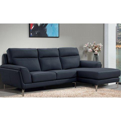 Vitalia Corner Right Handed Leather Sofa Bed In Indigo