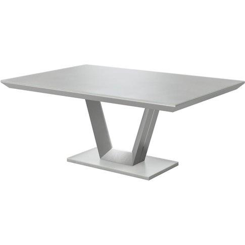 Vivaldi Glass And Wooden Dining Table In Matt Grey