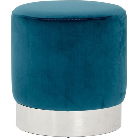 Vogue Teal Velvet Round Stool With Silver Base
