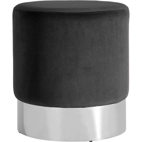 Vogue Velvet Round Stool In Black With Silver Base