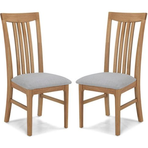 Wardle Grey Fabric Dining Chairs In A Pair With Wood...
