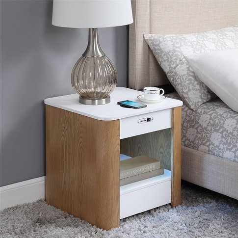 Wasdale Smart Bedside Table In Ash And White With Light