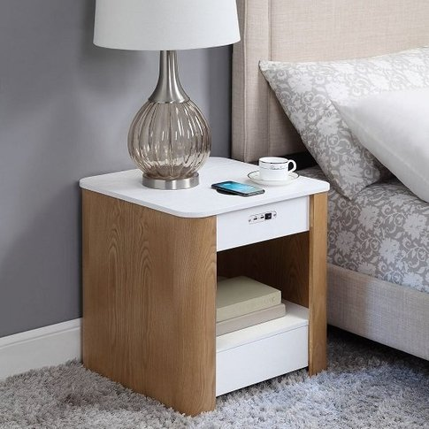 Wasdale Smart Bedside Table In Ash And White Without...