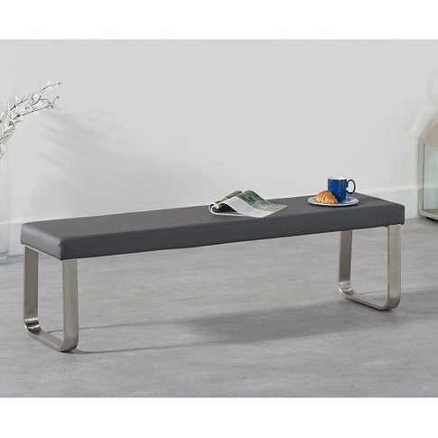 Washington Large Dining Bench In Grey Faux Leather