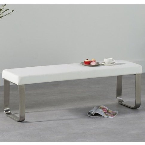 Washington Medium Dining Bench In White Faux Leather