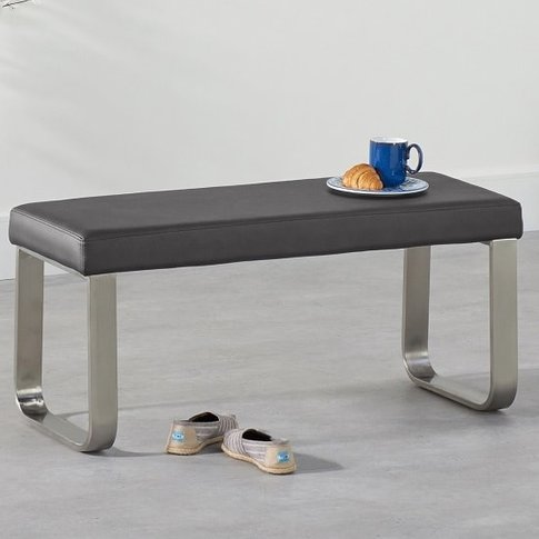 Washington Small Dining Bench In Grey Faux Leather