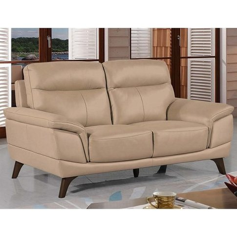 Watham 2 Seater Sofa In Taupe Faux Leather With Wood...