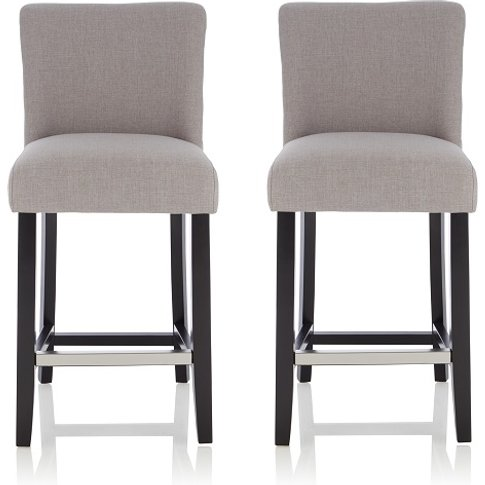 Wayman Bar Stools In Grey Fabric And Black Legs In A...