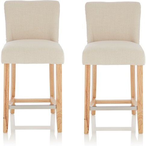Wayman Bar Stools In Linen Fabric And Oak Legs In A ...