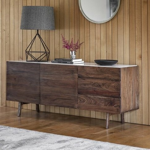 Wayne Marble Top Sideboard In White And Acacia Wood