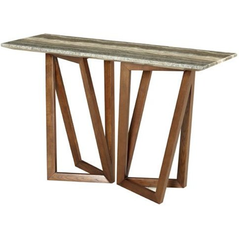 Webstar Marble Console Table In Multicolor With Waln...