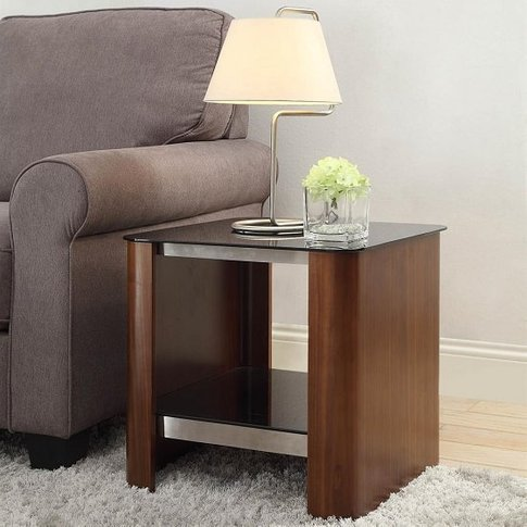 Westin Lamp Table In Black Glass And Walnut With Und...