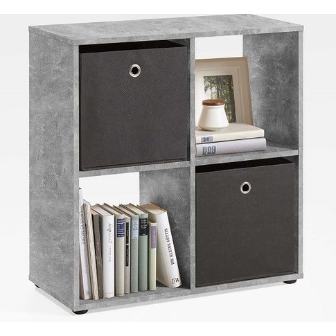 Westphalen Bookcase In Concrete Colour With 4 Compar...