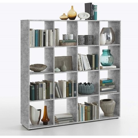 Westphalen Bookcase In Concrete Colour With 16 Compa...