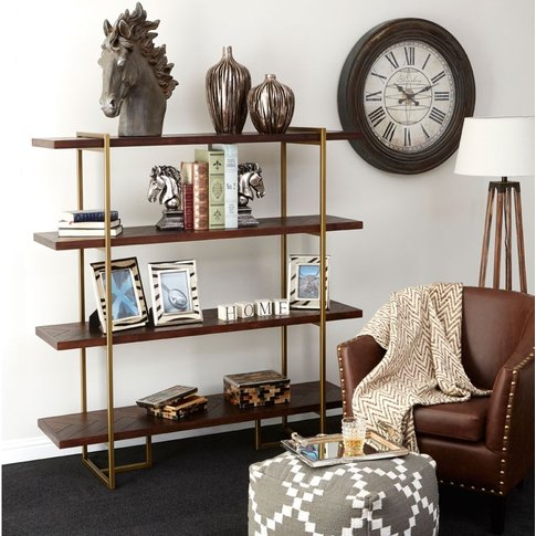 Whalley Bookcase In Rustic Wood And Antique Brass Fi...