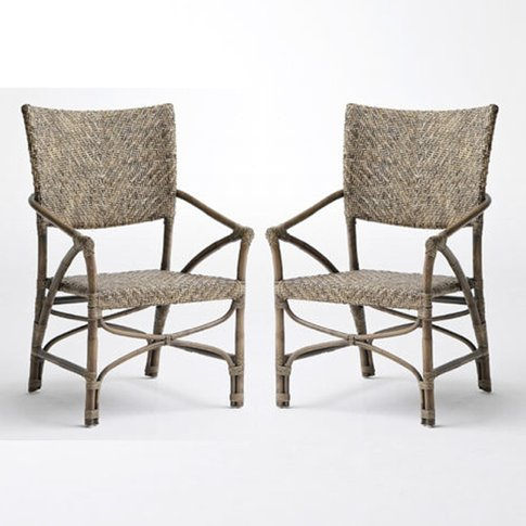 Wickers Jester Rustic Wooden Accent Chairs In Pair