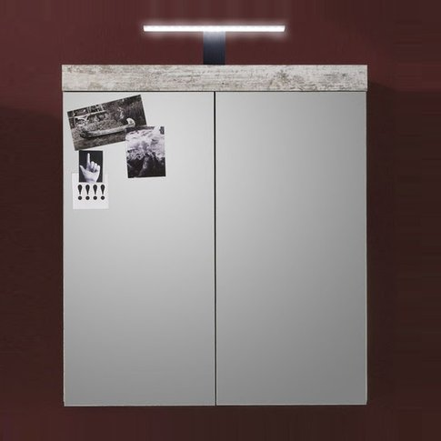 Wildon Mirror Bathroom Wall Cabinet In Canyon White ...
