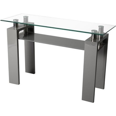 Willis Glass Console Table In Clear With Grey High G...