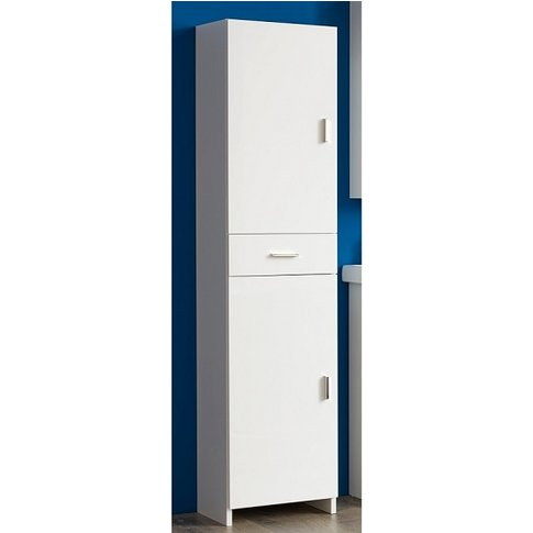 Wilmore Tall Bathroom Cabinet In White With High Glo...