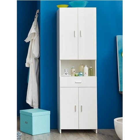 Wilmore Bathroom Cabinet Wide In White With High Glo...