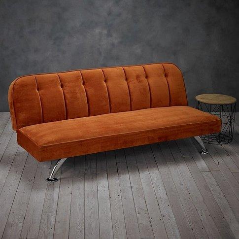Wingert Velvet Sofa Bed In Orange With Silver Finish...