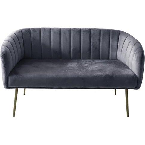Wingfield Velvet 2 Seater Sofa In Grey With Gold Met...