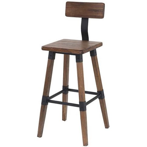 Wito Wooden Bar Stool In Rustic Brown Elm With Steel...