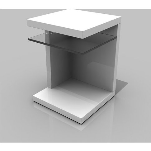 Worthington Side Table In White With Glass Shelf