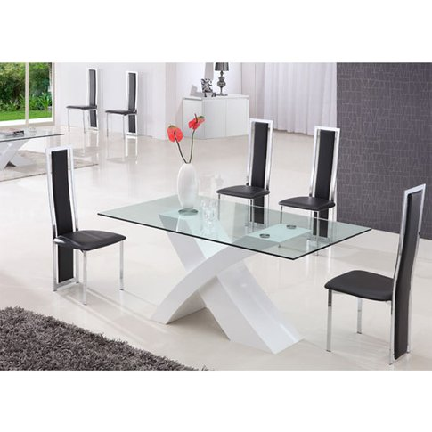 X Glass Dining Table In High Gloss White Base With 6...