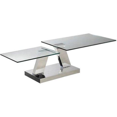 Xavi Swivel Extending Glass Coffee Table In Clear