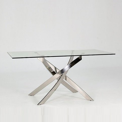 Xenon Dining Table In Clear Glass With Stainless Ste...