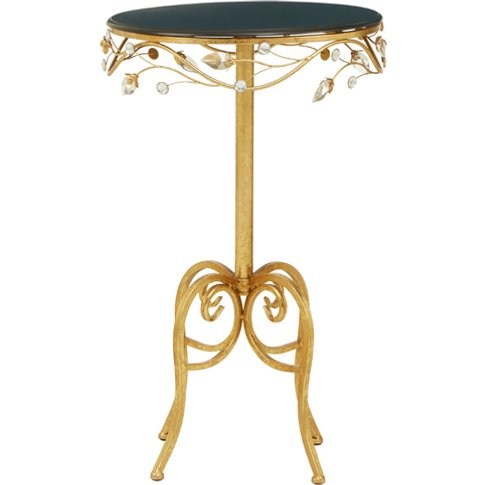Xuange Round Black Wooden Top Side Table In Gold Frame