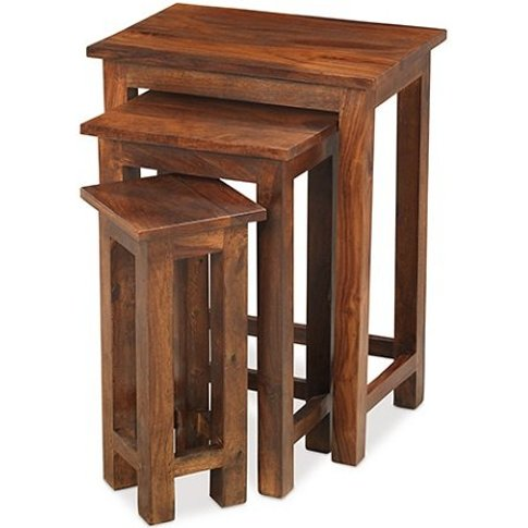 Zander Wooden Nest Of Tables Tall In Sheesham Hardwood