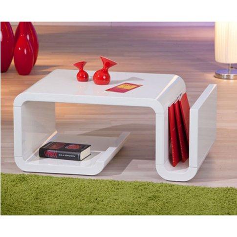 Zara High Gloss Coffee Table With Magazine Rack In W...