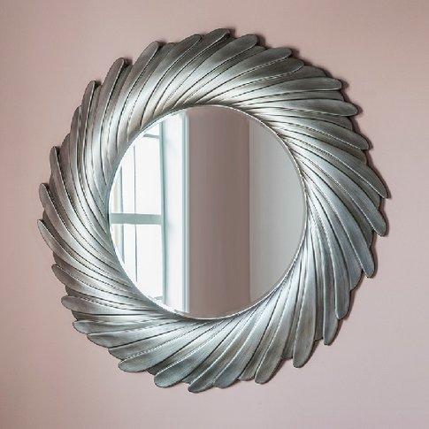 Zarah Contemporary Wall Mirror Round In Silver