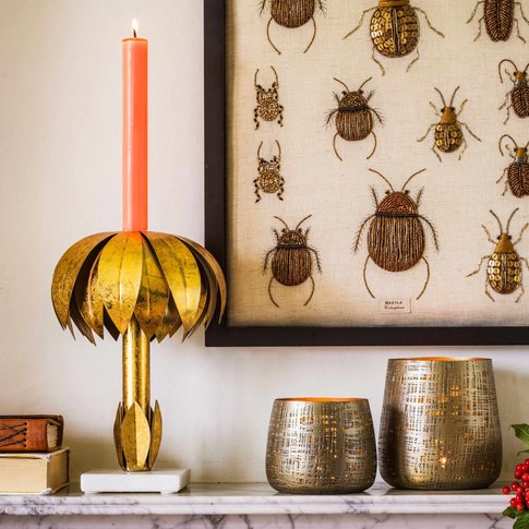Gold Palm Candle Holder
