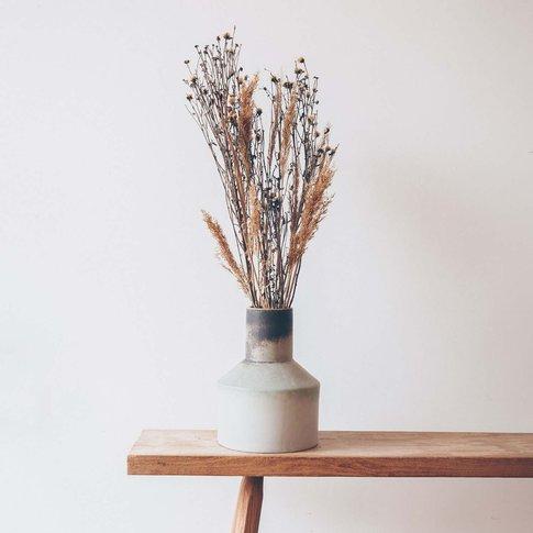 Distressed Large Funnel Neck Vase