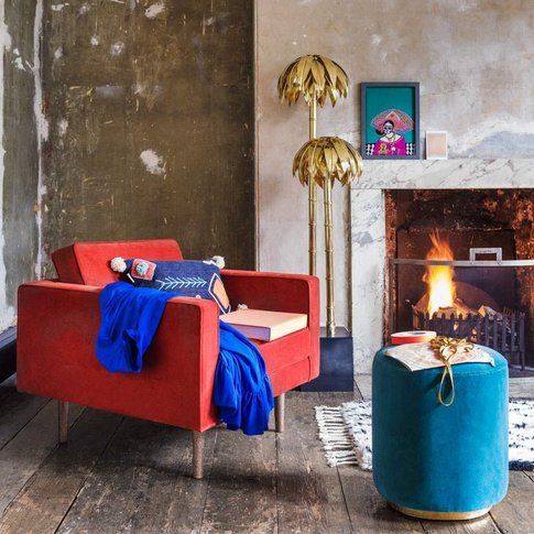 Oscar Burnt Orange Velvet Armchair