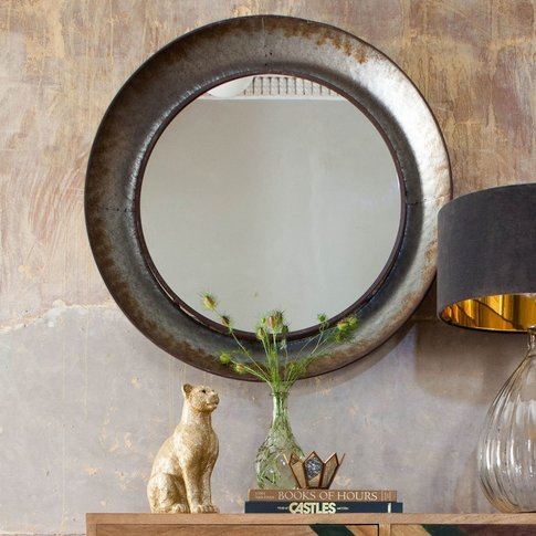 Distressed Round Mirror