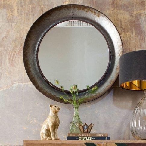 Distressed Round Mirror