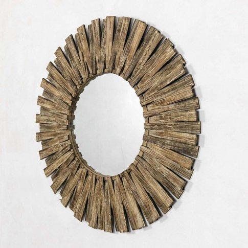 Round Fir Wood Mirror