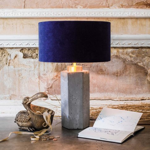 Concrete And Brass Hexagon Table Lamp