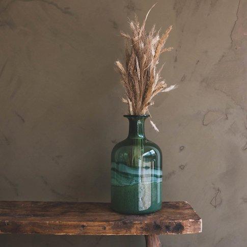 Hand Blown Green Bottle Vase